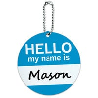 Mason Hello My Name Is Round ID Card Luggage Tag
