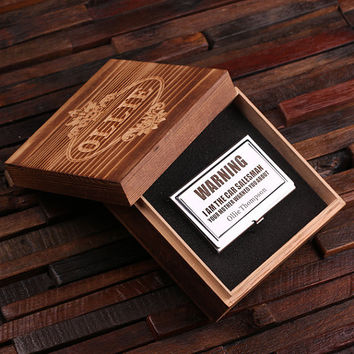 Personalized Stainless Steel Business Card Holder with Wood Gift Box