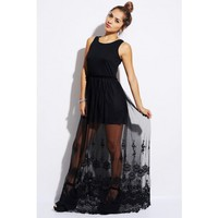 black embroidered sheer mesh evening maxi dress