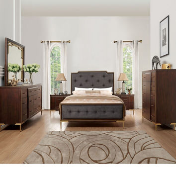 Acme 25960Q 5 pc Eschenbach cherry finish wood gold accents charcoal fabric queen bedroom set