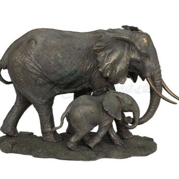 Mother Elephant with Baby Cub Bronze Statue 17.25L