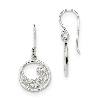 Sterling Silver Circle Shamrock And Celtic Knot Dangle Earrings