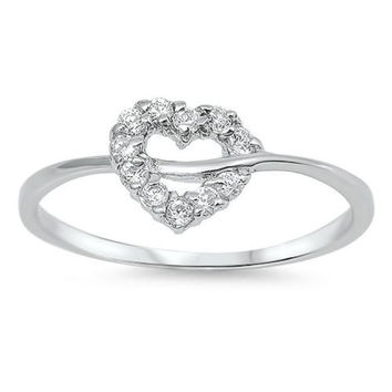 Sterling Silver Infinity Heart Round Cut CZ Ring size 4-10
