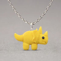 Triceratops Pendant Necklace - Polymer Clay Jewelry, Cute Accessories, Dinosaur Lovers