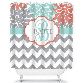 Coral Aqua SHOWER CURTAIN, Flower Burst Chevron, Custom MONOGRAM Personalized, Bathroom Decor, Beach Towel, Plush Bath Mat, Baby Blanket