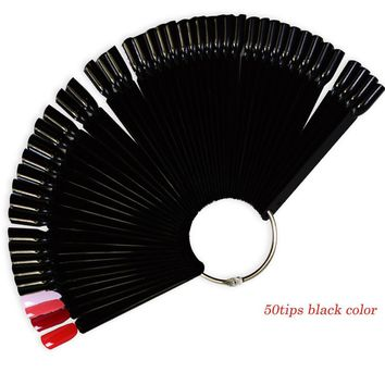 50tips New Black Colors Fan Board False Nail Art Tips Display Practice UV Gel/Polish/Rhinestones/Glitter Powder Tool ND293