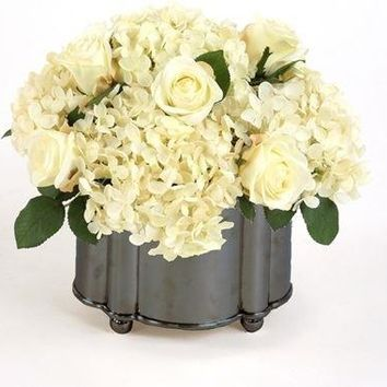 Silk Cream-White Roses and Hydrangeas In A Footed Bronze Oval Planter