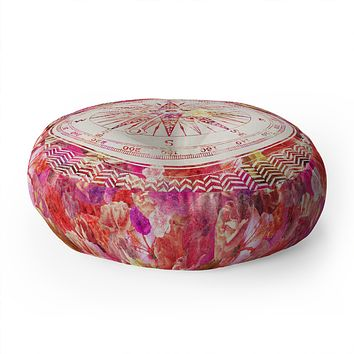 Bianca Green Follow Your Own Path Pink Floor Pillow Round