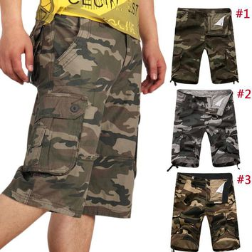 Summer Men Military Cargo Camo Casual Baggy Tactical Army Camouflage Short Pants Trousers H9