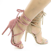 Paris Open Toe Strappy Leg Wrap Stiletto Heel Dress Sandal