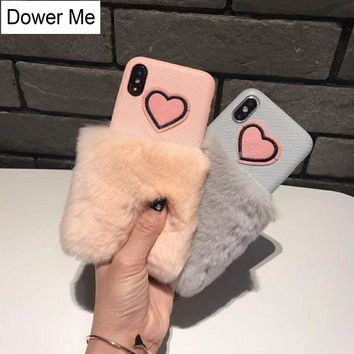 Dower Me Korea Fashion Cute Pink Embroidery Love Furry Real Rex Rabbit Fur Soft Phone Case Cover For iPhone X 8 7 6 6S Plus