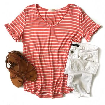 Coral Striped Ruffle Sleeve V-Neck Top