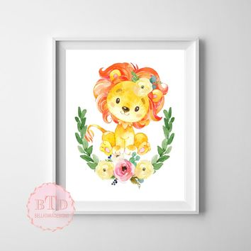 Lion Boho Garden ZOO Safari Nursery Kids Baby Girl Room Playroom Print Baby Shower Gift Wall Poster Sign Art Home Decor