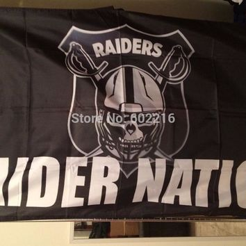 New Oakland raider nation Large Outdoor Flag 3ft x 5ft Football Hockey USA Flag