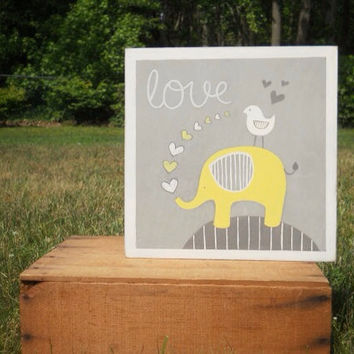 Elephant nursery art, Yellow and gray nursery, gray and yellow, nursery decor, painted sign, baby boy nursery, wall art, baby boy