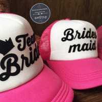 5 Bridesmaid & 1 Brides Hat Wedding Hats Flawless Style Trucker Hat Set