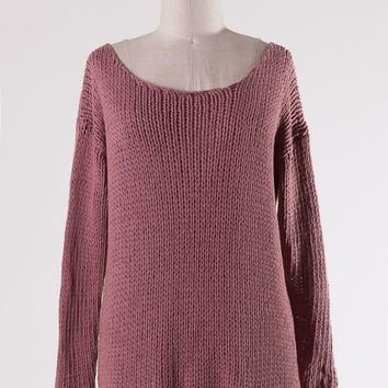 Wide Neck Cable Knit Top