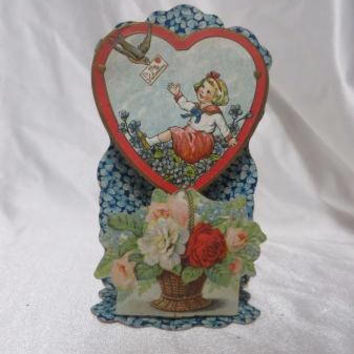 Vintage Valentine 20s 3D Stand Up Card Floral Roses Girl Pretty Large Embossed Very Pretty Sailor Suit