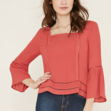 Ladder-Cutout Gauze Blouse | Forever 21 - 2000186915