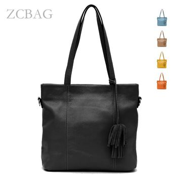 Free Shipping Long Taseels 100% Genuine Leather Ladies Woman Handbag shoulder tote messager bag purse satchel cross body