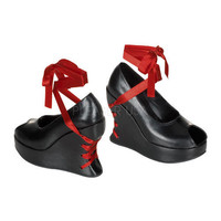 Demonia Ribbon Corset Wedge Shoes :: VampireFreaks Store :: Gothic Clothing, Cyber-goth, punk, metal, alternative, rave, freak fashions