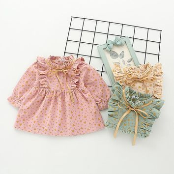 Autumn Infant Baby Girls Tulle Tutu Dress with Bow Birthday Party Spring Baby Kids Girls Flower Pattern Princess Ruffles Dress