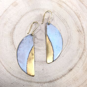 Brass + Enamel Half Moon Earrings