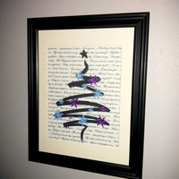 Christmas Decor purple blue Baby its cold outside Modern framed lyric tree art with sparkly snowflakes Framed gift idea
