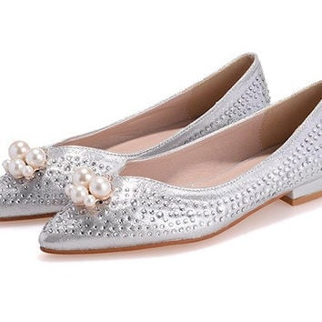 Womens Hot Beautiful Rhinestone Flats