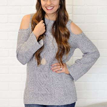 * Aryel Cold Shoulder Cable Knit Sweater : Modaled Grey