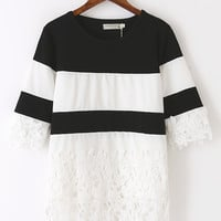 Black and White Stripe Lace Top