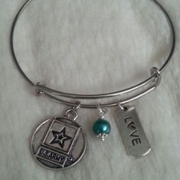 US Army Bangle Bracelet Military Gift Soldier Mom Wife Girlfriend Sister Dog Tag
