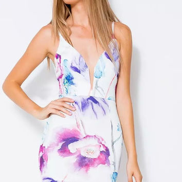 Floral V-neck Spaghetti Strap Backless Bodycon Mini Dress