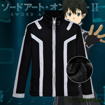 2016 New Sword Art Online Hoodie Men Black Fleece Coat Anime Casual Sweatshirt Sword Art Online 2 SAO Game Cosplay Jacket M-2XL