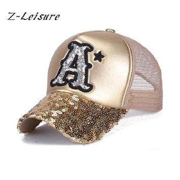 2017 Summer Hat Baseball Cap Sequins Bling Hinning Mesh Caps Adjustable Fashion Women Girls Hats Snapback Casual Gorra  BC037
