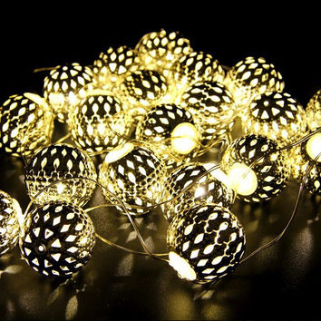 Novelty Moroccan 20 Lamp Balls LED String Warm White For Wedding Party Fairy Lights Christmas Garlands Flexible Strip Decoration