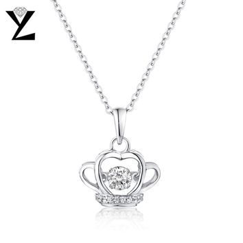 YL Crown 100% 925 Sterling Silver Fashion Fine Jewelry with Dancing Topaz Natural Stone for Women Engagement Pendants Necklaces
