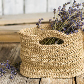 Eco Friendly Natural Jute Mini Herb Basket, Gardening, Crafts Storage, Rustic Home Decor, French Country, Farmhouse, Cottage Chic