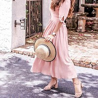 Party Midi Pink Dress Women Ruffle Elegant Female Vintage Dresses Solid Casual Beach Dress