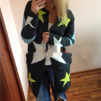 Star Pattern Print Long Sleeve  Knitted Cardigan