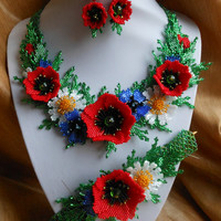 "Ukrainian necklace, necklace with poppies, Ukrainian Gerdan, earrings with poppiesSet Beaded ""Spring"""