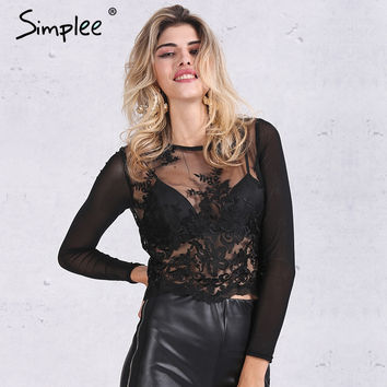 Simplee Sexy embroidery black blouse women 2016 Transparent mesh long sleeves white blouse shirt Elegant fringe lace blusas tops