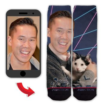 Function - Custom Face Portrait With Cats and Lasers Fashion Socks