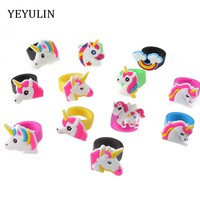 New Arrival Fashion Rubber Unicorn Kids Rings For Girls Children Cartoon Finger Jewelry Party Gifts 10pcs