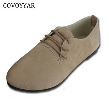 COVOYYAR 2017 Solid Lace Up Women Shoes Autumn Spring Pointed Toe Women Flats Ladies F