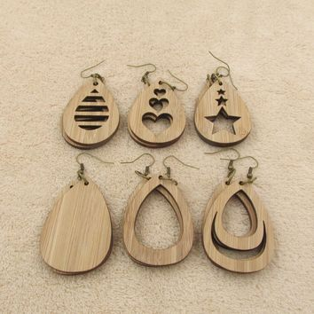 2018 New Unique Design Bamboo Wooden Teardrop Earrings for Women Tear Drops Gifts Fit For Everybody