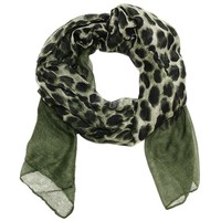 Large Ombre Leopard  Scarf in Dark Army Green