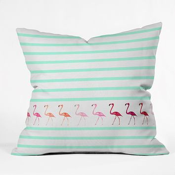 Monika Strigel Mini Flamingo Walk Throw Pillow