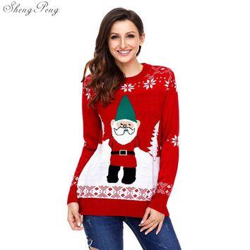 2018 New autumn winter pullover sweaters women cute snowman ugly christmas sweater red christmas sweater new year sweater V1149