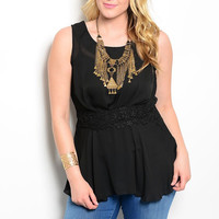 Plus Size Cinched Waist Light Chiffon Top in Black